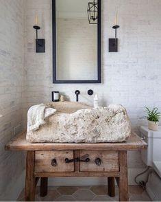 Natural Unique Powder Bathroom Interior Design With Stone Sink Decoration Inspiration, Bathroom Inspiration, Bathroom Ideas, Bathroom Goals, Inspiration Design, Design Ideas, Decor Ideas, Bathroom Trends, Decorating Ideas