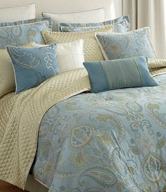 CEYLON bedding collection in soft Mist Blue and Lemongrass palette. Available at Dillards.com #Dillards