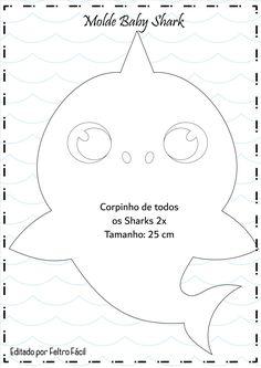 Baby Shark Mold in Felt - DIY, halloween vampire, Shark Birthday Cakes, Boy Birthday Parties, Baby Birthday, Baby Shark Doo Doo, Shark Party, Shark Cake, Crafts, Printable Pictures, Halloween Vampire