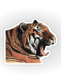 """Yawning"" Sticker by Savousepate on Redbubble #sticker #stationery #drawing #tiger"
