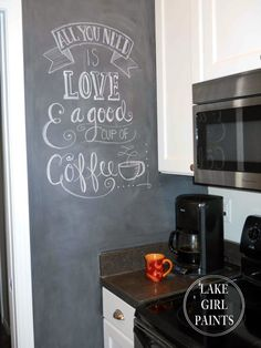 Lake Girl Paints: Painting My Kitchen Wall with Chalkboard Paint