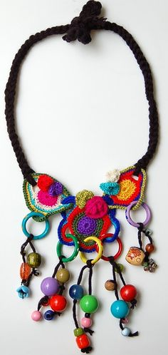 Multicolored crocheted wooden beaded necklace by StudioKarma