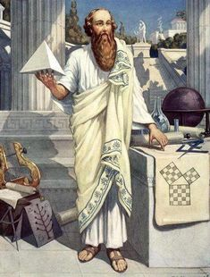 Pythagoras of Samos was an ancient Greek philosopher. He lived within Samos, Greece around the early 500 BC era. He is most famous for theorizing the Pythagorean Theorem. Masonic Art, Masonic Symbols, Classical Greece, Esoteric Art, Greek History, Poster Prints, Art Prints, Freemasonry, Ancient Greece