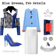 Blue Dreams outfit with Silver Chocker by andrea-cliv on Polyvore featuring Roksanda, Lucas Nascimento, Gianvito Rossi, Mary Katrantzou, DwellStudio and OroClone