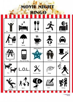 At Home Movie Night Idea: Movie Bingo {Printables}