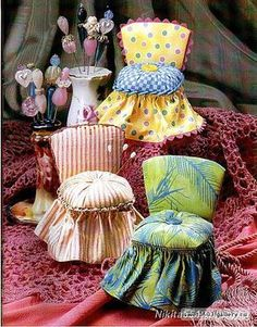 Rose M. - We made these in Jr. High sewing class years ago - pincushion chair from tin can or tuna can -