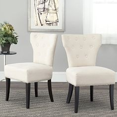 Safavieh Mercer Collection Jamie Cream Polyester Dining Chair Set of 2 -- Click image for more details. (Amazon affiliate link)
