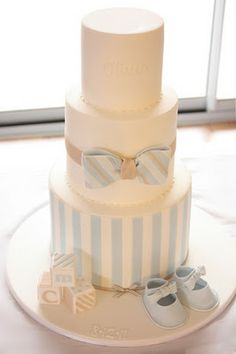 Ideas For Baby Boy Baptism Cake Christening Birthday Parties Baby Cakes, Cupcake Cakes, Diaper Cakes, Baby Shower Cakes For Boys, Baby Boy Shower, Jednostavne Torte, Bow Tie Cake, Bow Ties, Gateau Baby Shower