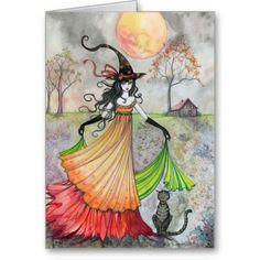 Halloween Witch Cat Card Autumn Reverie
