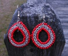 "Red Bead Wire Weave Earrings by CraftingMemories1 on Etsy --- ""Opaque Red Round Japanese Seed Beads and Beadalon German Style Wire assembled together created these beautiful earrings."""