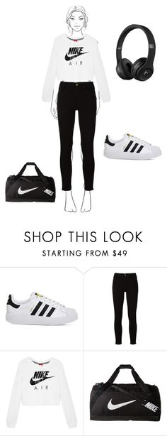 """spora"" by zehratatli ❤ liked on Polyvore featuring adidas, Frame and NIKE"