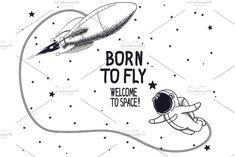 Astronaut with rocket by Dimonika on @creativemarket