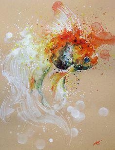 飛散する色彩と水滴!カラフルで可愛い小動物の水彩画 (3)