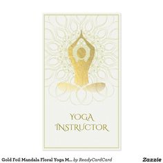 Gold Foil Mandala Floral Yoga Meditation Om Symbol Business Card
