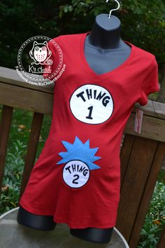 Thing 1 and Thing 2 Gender Announcement or Halloween Costume maternity shirt by KsClosetBoutique on Etsy https://www.etsy.com/listing/207436031/thing-1-and-thing-2-gender-announcement