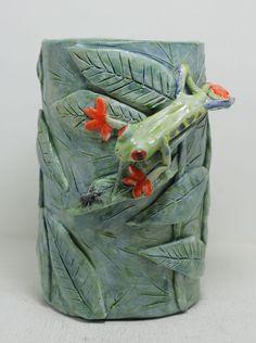 Red Eye Tree Frog Vase Stoneware vase by GirlwithaFrogTattoo, $60.00
