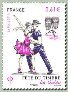 Zoom sur le timbre «La Salsa Fête du timbre 2014 - La danse» Danse Salsa, Stamp Collecting, World History, Postage Stamps, Dance, Zoom, Postcards, Sport, Places