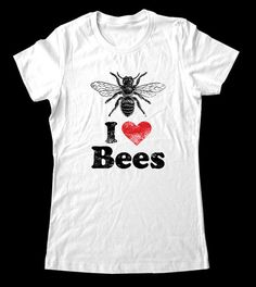 I (Heart) Bees - Printed on Super Soft Cotton Jersey T-Shirts for Women and Men