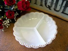 Vintage White Milk Glass Gold Tone Beaded Rim by tithriftstore