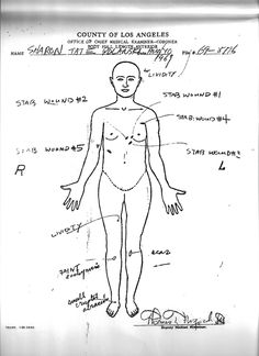 Sharon Tate's autopsy sheet, completed after she was murdered by members of the Manson Family, illustrating the extensive stab wounds that she sustained during the attack. Sharon Tate Crime Scene, Sharon Tate Murder, Sharon Tate House, Famous Murders, Charles Manson, Foto Real, Roman Polanski, Serial Killers, True Crime