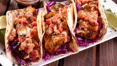 Whoever said they don't like fish tacos – hasn't tried these!  Your favorite fish (cod, tilapia, or halibut) is marinated, and then grilled to flaky perfection.  Serve on warm tortillas, top with shredded cabbage for extra crunch; add a dollop of our Lime & Cilantro Aioli made with Petite Diced Tomatoes with Lime Juice & Cilantro for added zest!  Top off with some delicious Avocados! Deliciously light and oh so tasty! @redgoldtomatoes #TacoTuesday