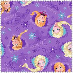 """Disney FROZEN, Framed Elsa and Anna, """"Sisters Forever""""  on purple COTTON Fabric, Yard"""