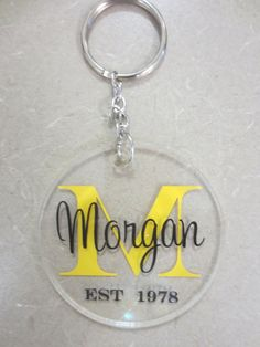 Personalized Initial Round Acrylic Keychain Personalized acrylic key chains make great gifts for any occasion; birthdays, teacher appreciation, graduation, wedding party gifts, holidays, stocking stuffers, sorority, sports, etc. Add to your child's diaper bag, backpack or use as a luggage tag. They also make a great treat for yourself!