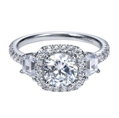 Beautiful trapezoid cut diamonds on the side of this engagement ring by Gabriel @ Co. #GabrielCo #Engagement #Ring