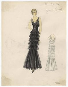 - Costume Institute - Digital Collections from The Metropolitan Museum of Art Libraries 1930s Fashion, Retro Fashion, Vintage Fashion, Womens Fashion, Vintage Style, Costume Institute, Chiffon, Sketches, Costumes