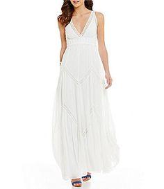 Chelsea & Violet V-Neck Sleeveless Chevron Maxi Dress