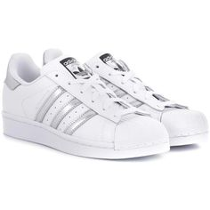 Adidas Originals Superstar Leather Sneakers ($106) ❤ liked on Polyvore featuring shoes, sneakers, white, leather footwear, leather trainers, white trainers, adidas originals shoes and adidas originals trainers