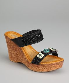Take a look at this Black Mayasa-07 Wedge Sandal by Refresh on #zulily today!