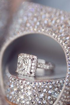 Gorgeous Louboutins and princess cut diamond ring. | Photo by Thisbe Grace Photography