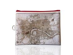London Fold over clutch women hand bag zipper pouch by efratul