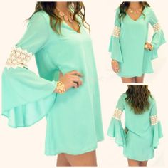 Free Fall Mint Crochet Bell Sleeve Dress. Absolutely love this with a pair of boots!
