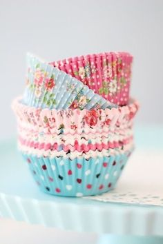 Floral chintz and polka dot cupcake liners