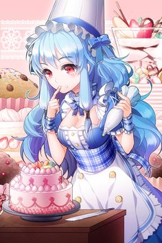 ✮ ANIME ART ✮ food. . .baking a cake. . .sweets. . .personification of icing. . .blue hair. . .meido costume. . .maid. . .apron. . .parfait. . .muffin. . .colorful. . .cute. . .kawaii