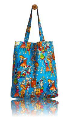 Dia de Los Muertos Lined Tote Bag - Handmade in London via Etsy Tote Bags Handmade, Reusable Tote Bags, London, Fabric, Etsy, Day Of The Dead, Tejido, Big Ben London, Tela