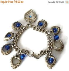 On Sale Vintage 60s Blue Glass Bead And Rhinestone Gold Tone