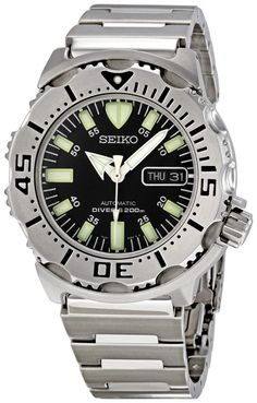 Seiko Divers Black Dial Stainless Steel Mens Watch SKX779