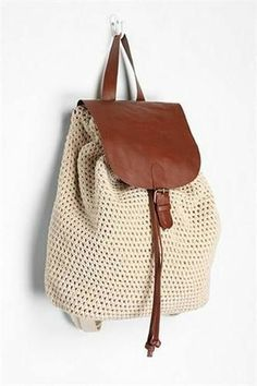 Crochet Handbags Kimchi Blue Crochet Backpack - Urban Outfitters tagged at Urban Outfitters - Crochet Handbags, Crochet Purses, Crochet Bags, Bead Crochet, Crochet Crafts, Mochila Crochet, Crochet Backpack, Macrame Bag, Cheap Bags