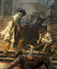 Andrei Pervukhin Concept Art and Illustration Art And Illustration, Art Illustrations, 3d Fantasy, Dark Fantasy, Westerns, Character Art, Character Design, Saloon, Stephen King