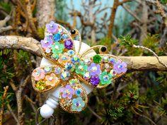 Floral Butterfly Badge Reel  Retractable by BadgeAlleybyGerAnne