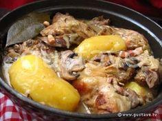Lapin chasseur aux pommes de terre - pdt, champignons, lardons, oignons, vin blanc, bouillon de volaille...