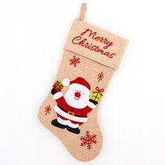Julesok i hørstof med julemand, snemand eller rensdyr