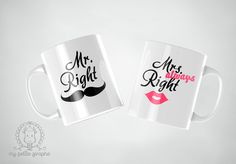 Mrs Always Right, Mr Right, Print Design, Couple, Mugs, Woman, Store, Tableware, Funny