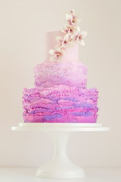 Check out our interview with Maggie Austin Cake and get wedding cake inspiration from those artistic cakes. Gorgeous Cakes, Pretty Cakes, Amazing Cakes, Wedding Cake Designs, Wedding Cakes, Fondant, Ruffle Cake, Ruffles, Ombre Cake