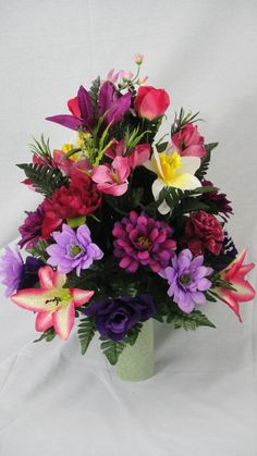 No. 1006 Yellow, Purple, Pink, Cream, Lilac, Fuchsia, Maroon Cemetery Flower Arrangement
