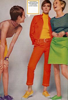 Twiggy, Grace Coddington and Barbara Bergerfrom the February issue of British Vogue magazine, United Kingdom, photograph by David Bailey. 60s And 70s Fashion, Fashion Mag, Mod Fashion, Teen Fashion, Fashion Models, Vintage Fashion, Fashion Design, Womens Fashion, Fashion 2018