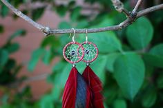 Striped Red And Grey Dream Catcher Earrings by nZuriArtDesigns